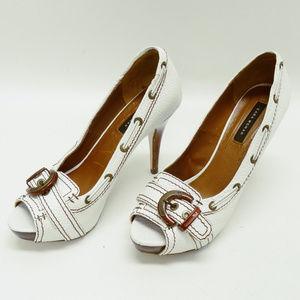 Zara Woman White Leather Peep Toe Stilettos